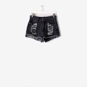 minkpink  slasher distressed denim shorts